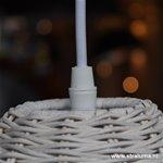 *Gevlochten houten hanglamp wit