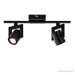2-lichts plafondspot LED mat zwart