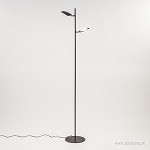 Zwarte 2-lichts leeslamp-vloerlamp LED