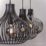 **3-Lichts moderne hanglamp draad zwart