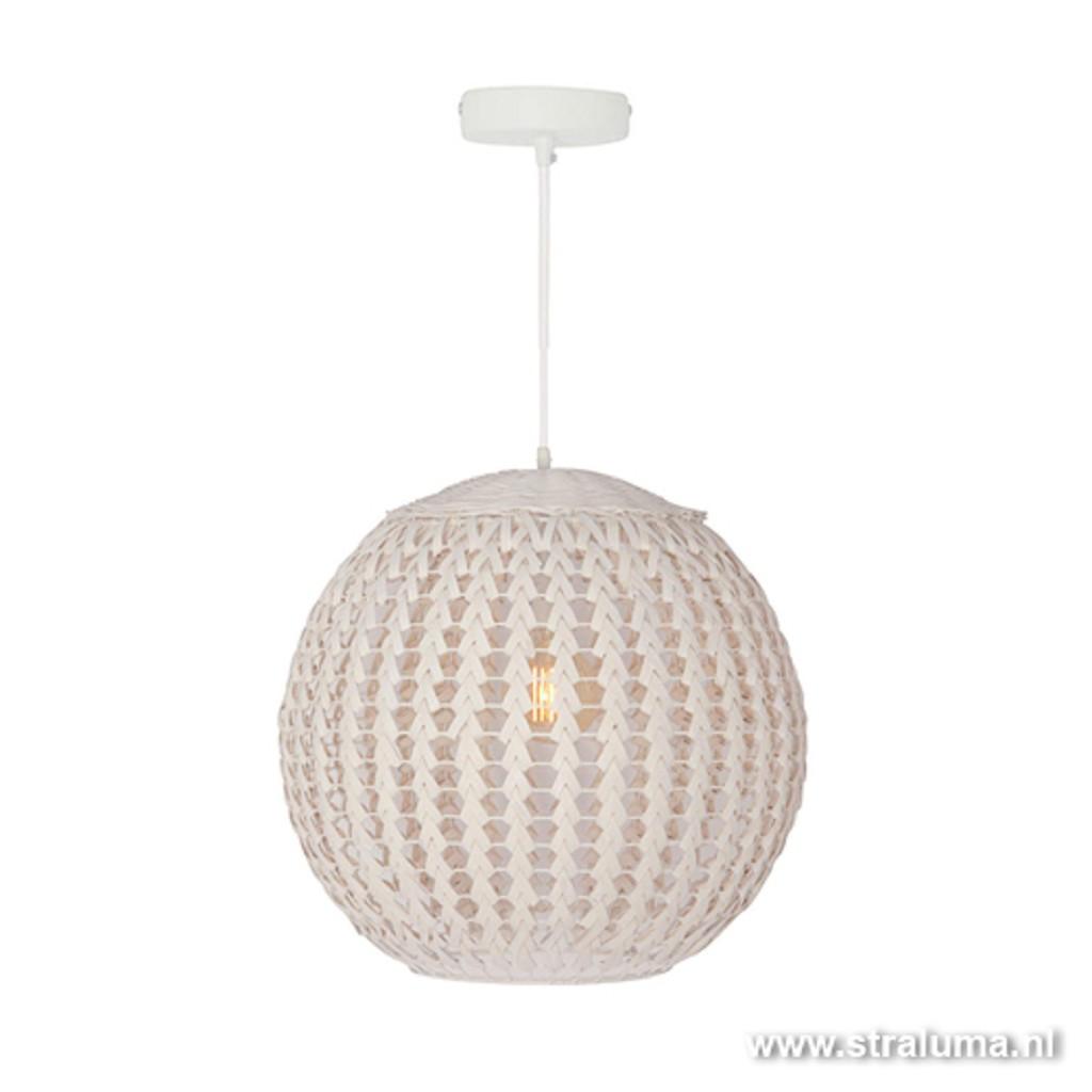 Witte bol hanglamp Tovano hout