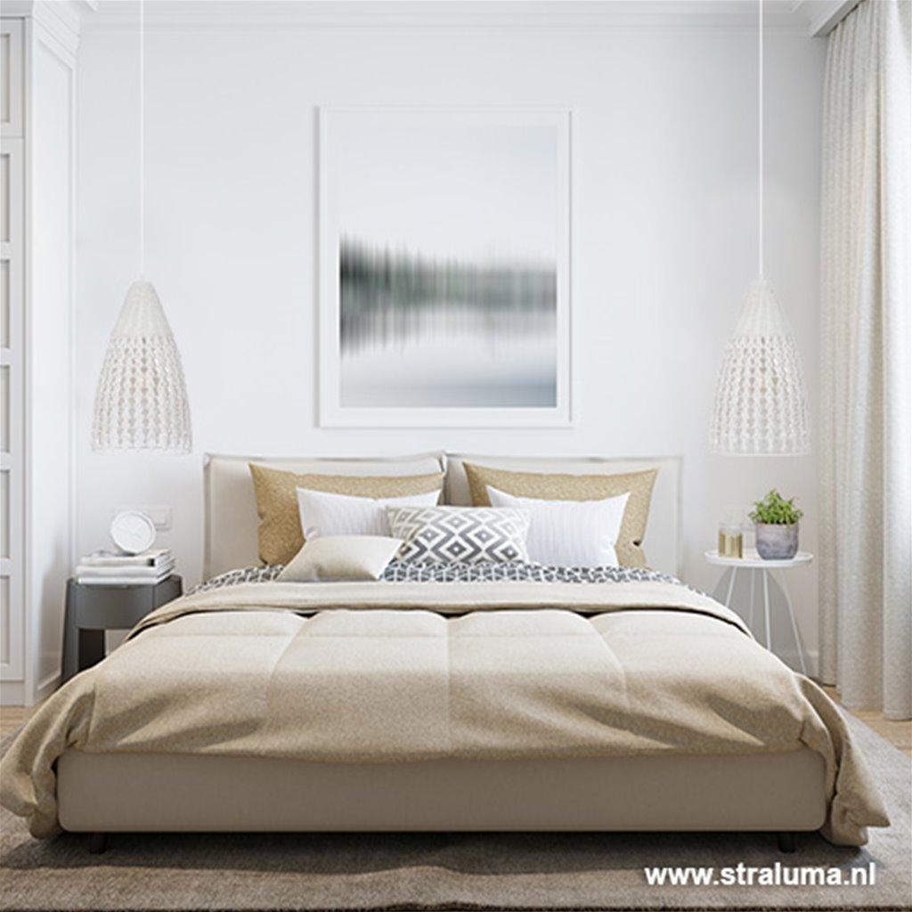 Romantische hanglamp gevlochten hout