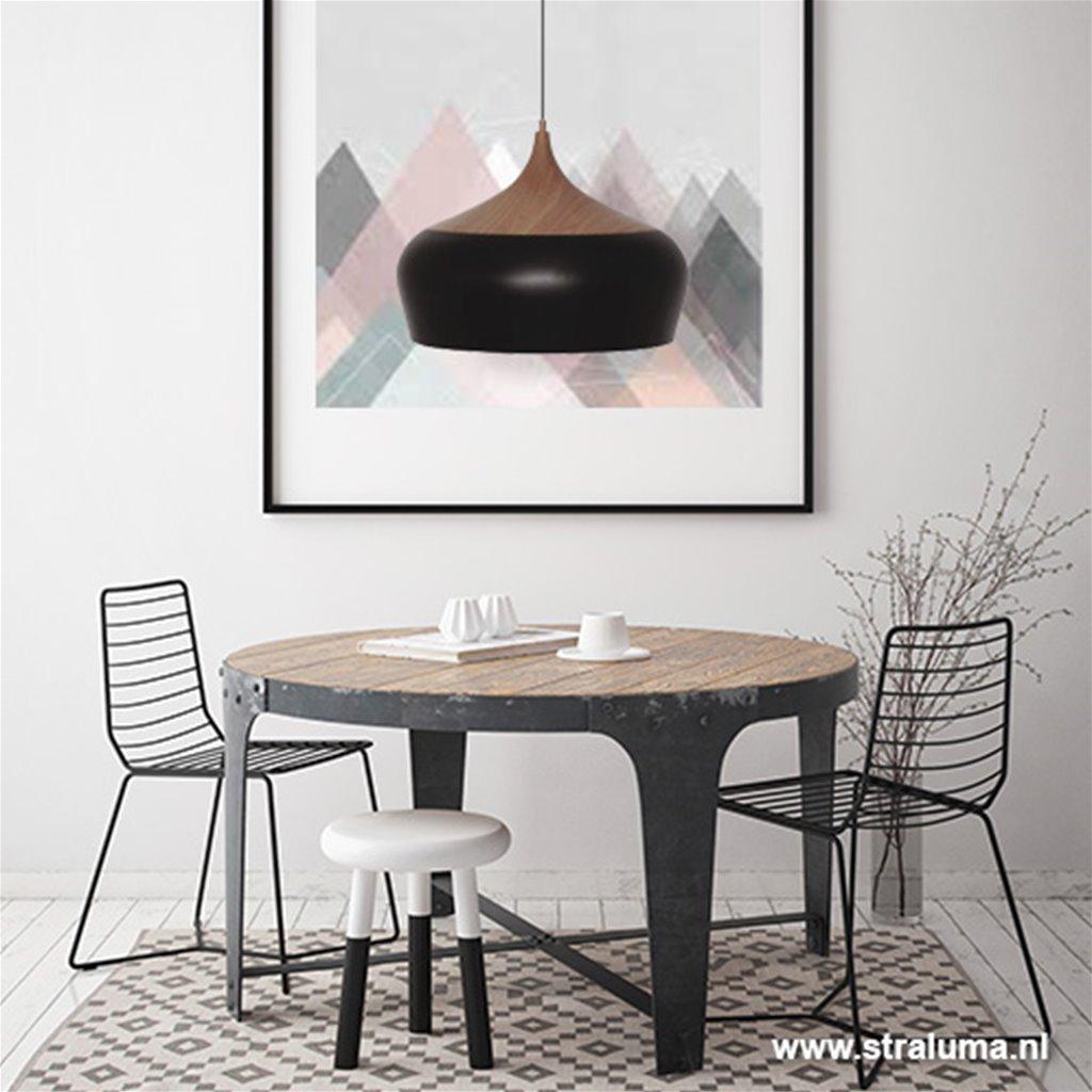 **Scandinavische hanglamp zwart en hout