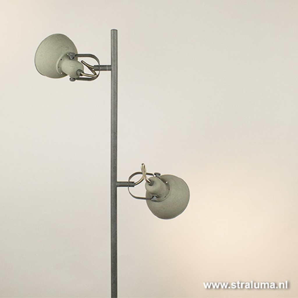 Grijze industriele vloerlamp 2-lichts