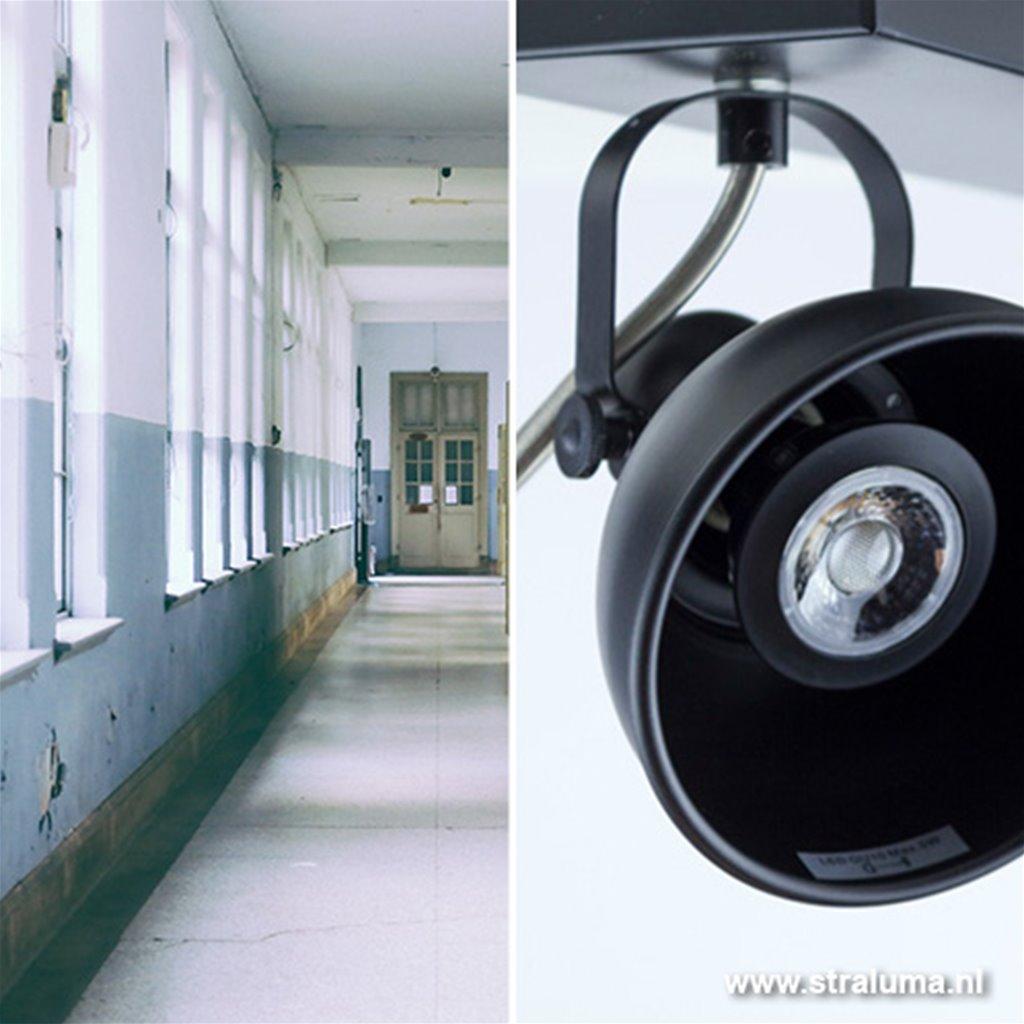 Plafondspot 2-lichts industrieel zwart