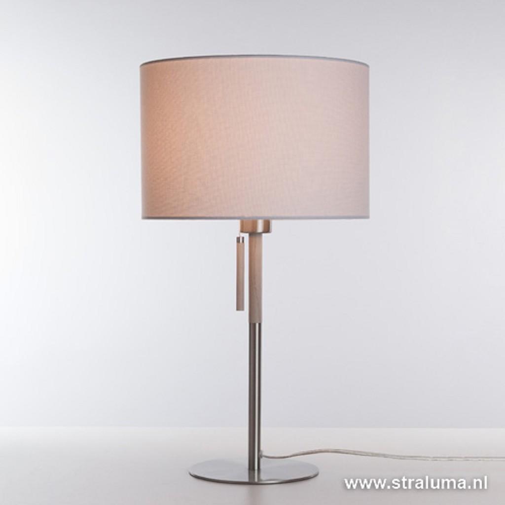 **Moderne tafellamp staal met hout