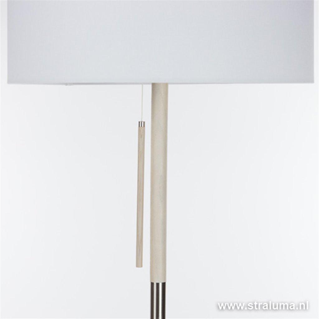Moderne stalen vloerlamp met hout