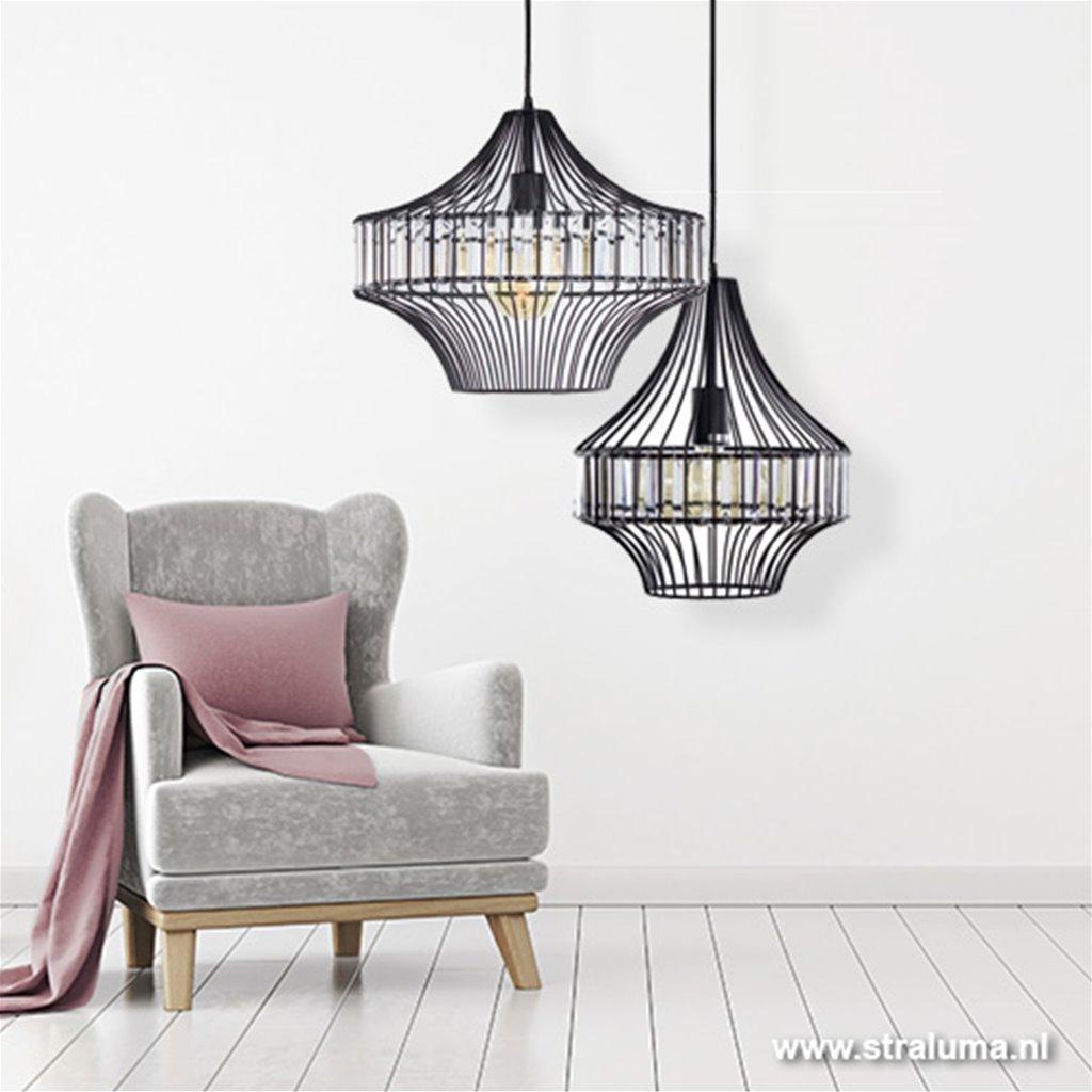 *Strak klassieke hanglamp met kristallen