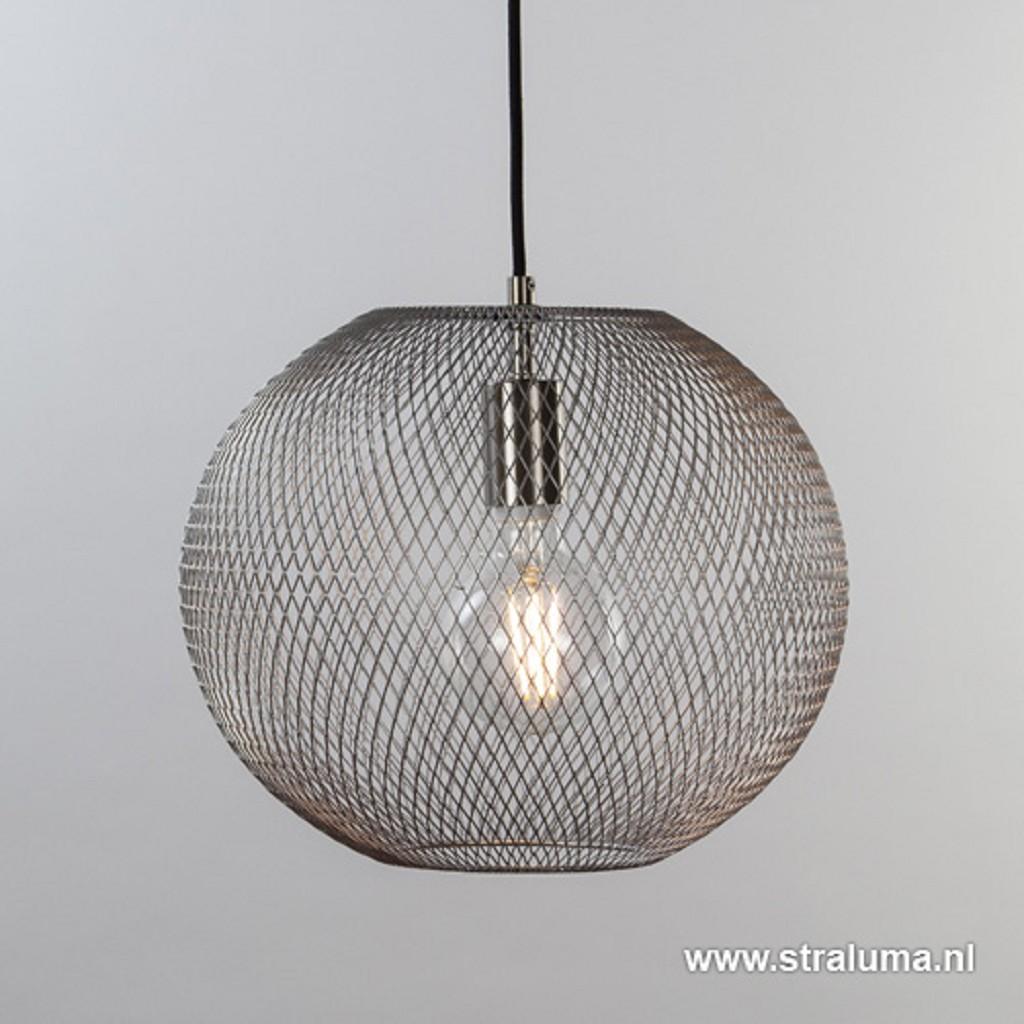 Kleine gaas hanglamp bol mat staal