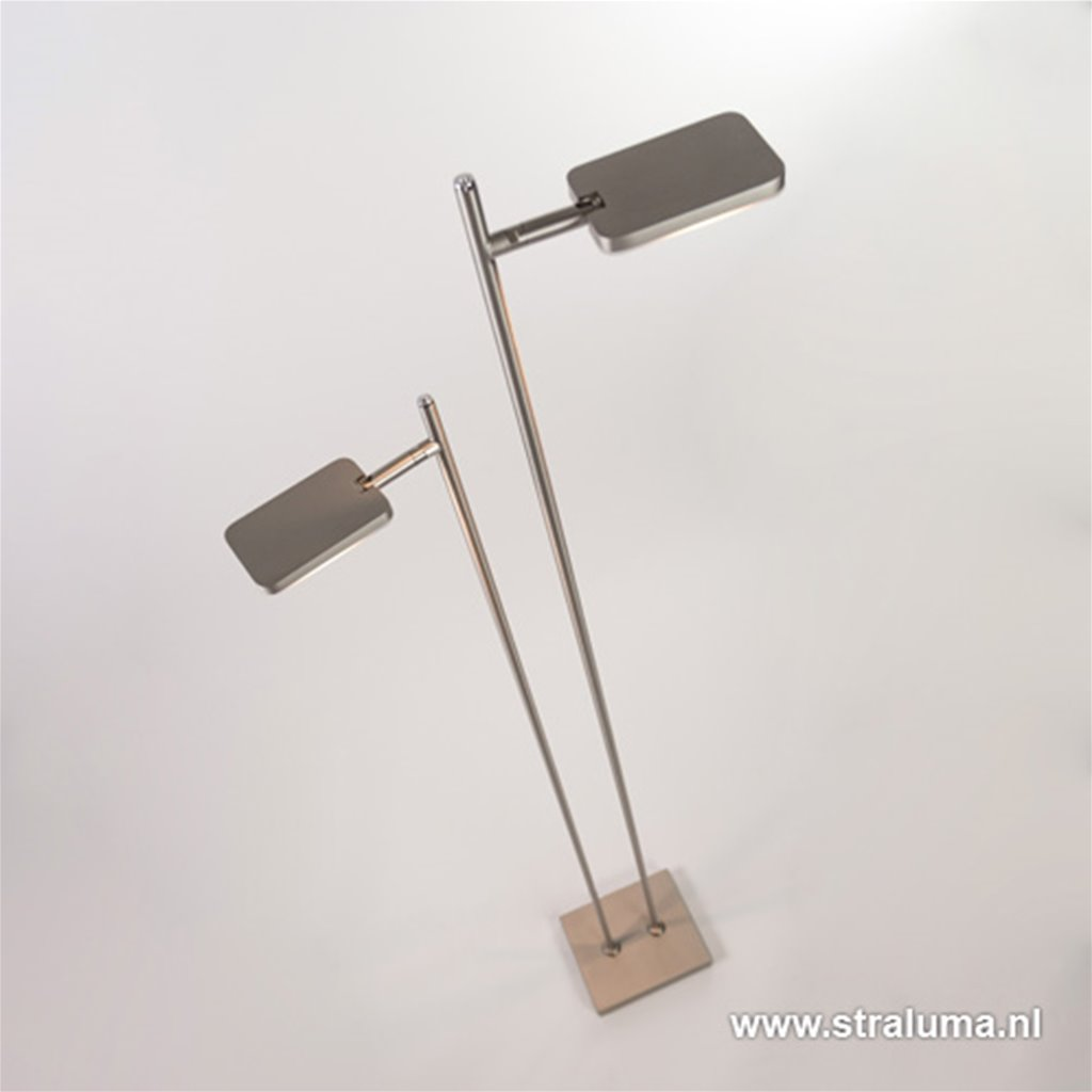 Staande vloerlamp led 2 lichts staal