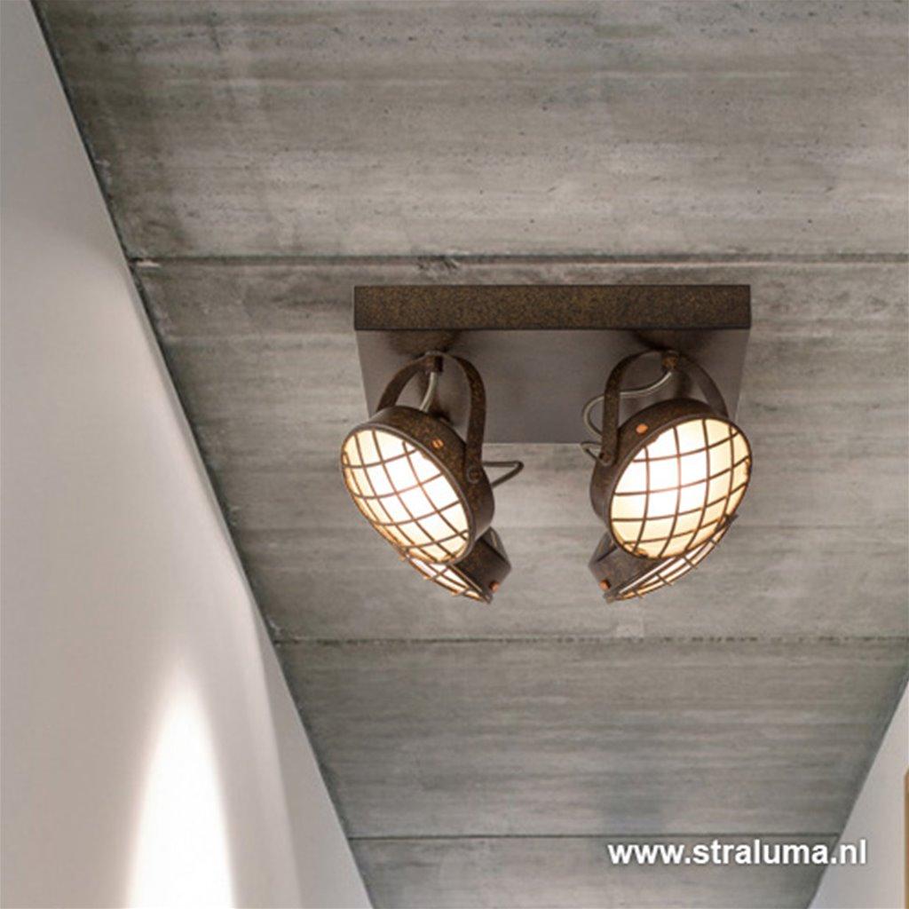 Roestbruine vierkante 4-lichts LED spot