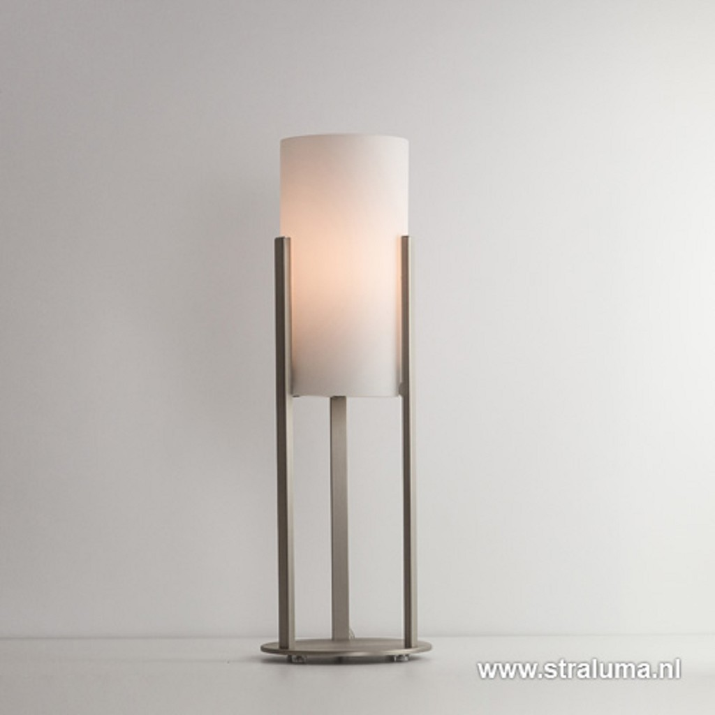 Moderne stalen tafellamp met wit glas