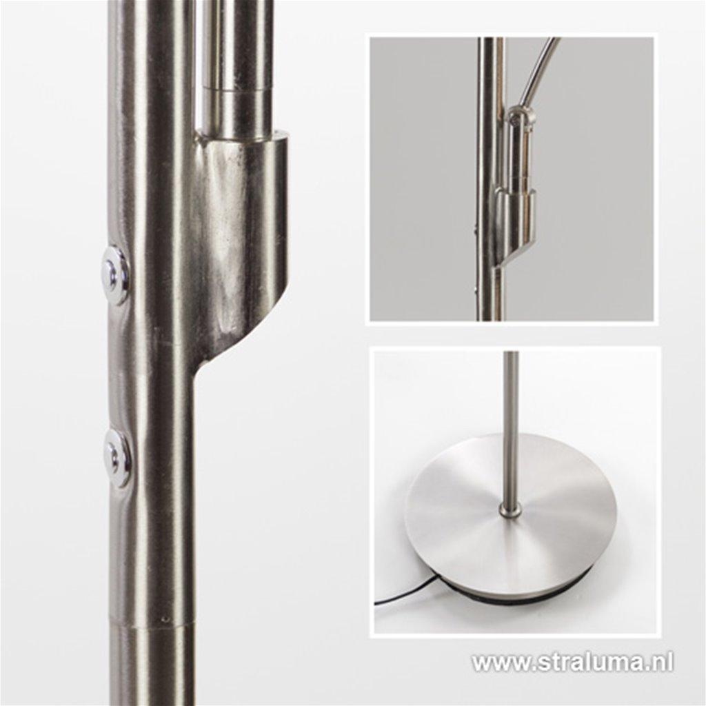 LED Uplighter-vloerlamp staal +leesarm