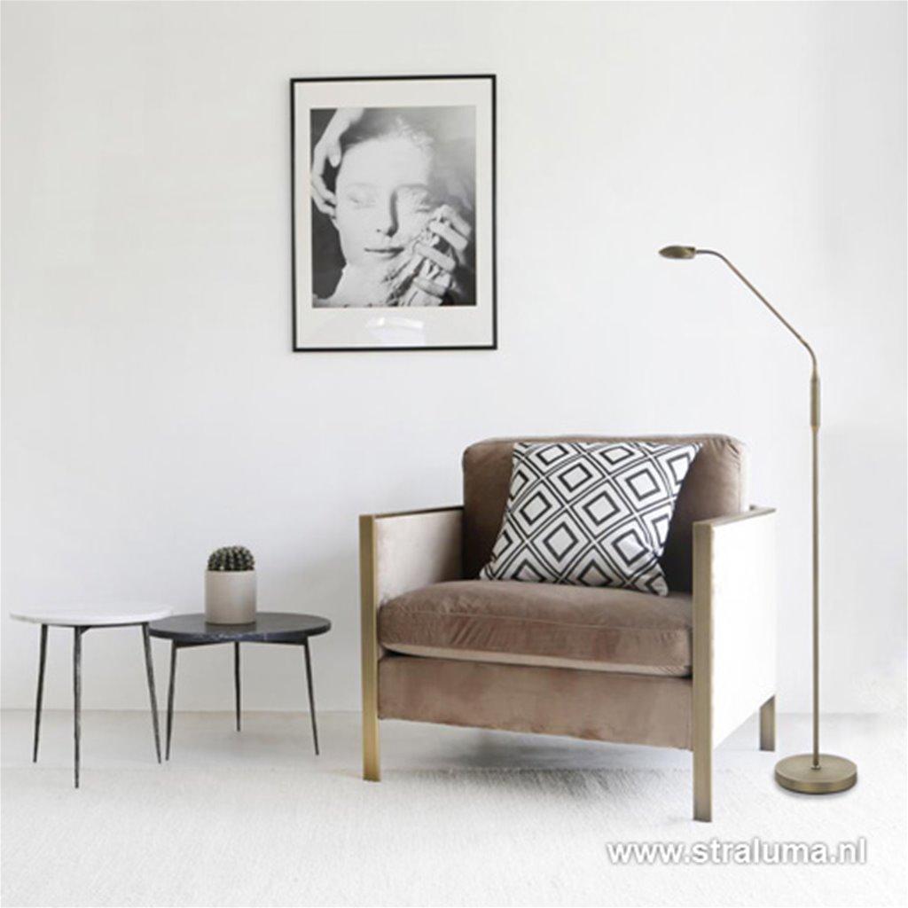 Led vloerlamp brons met dimfunctie