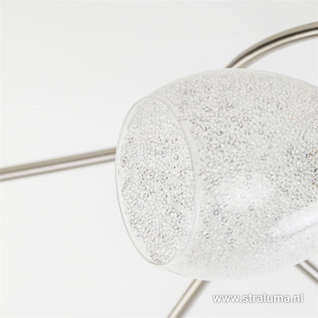 Grote plafonnière staal met glas