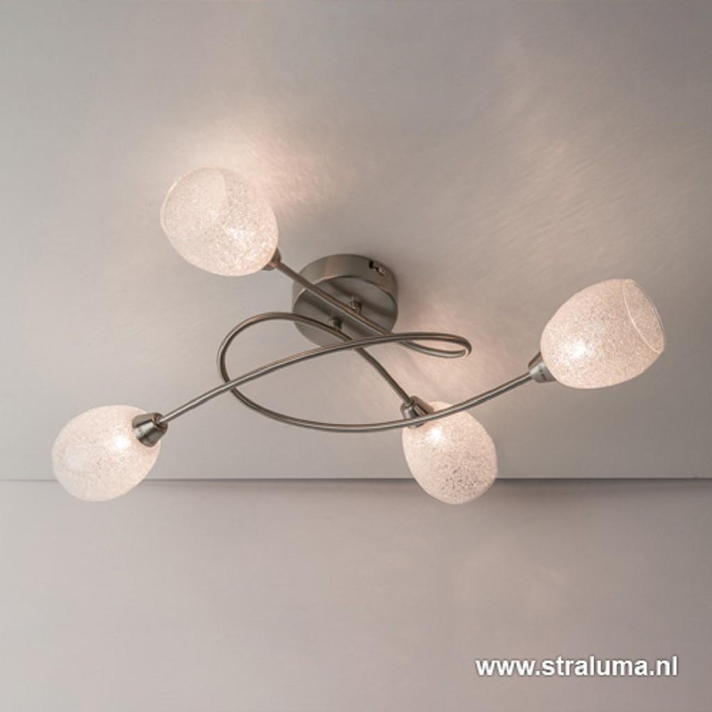 Plafondlamp 4-lichts met glas speels