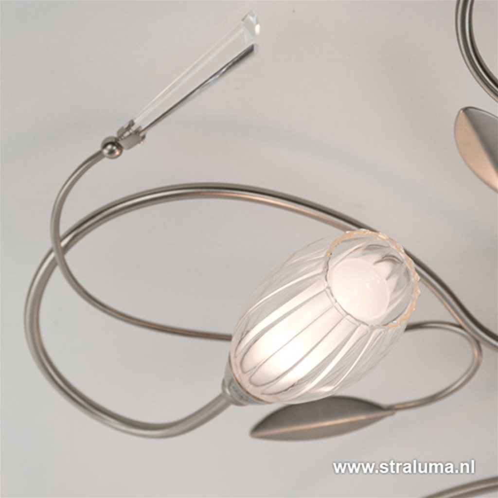 Plafondlamp 5l nikkel bloemglas/kristal