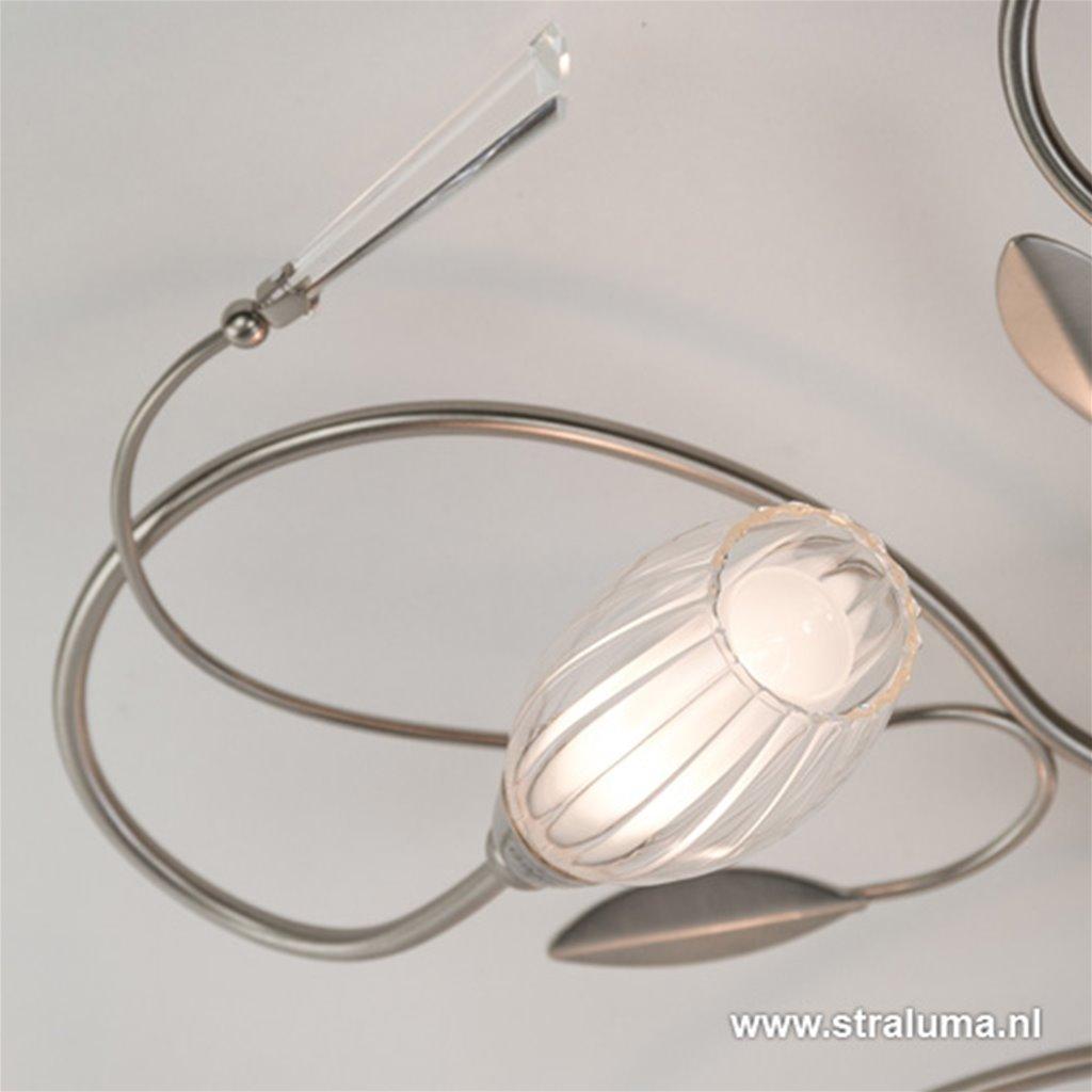 Kleine Plafonnière glas/staal