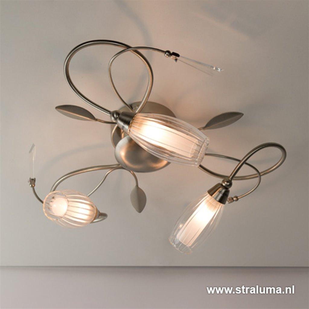 Plafondlamp 3l nikkel bloemglas/kristal