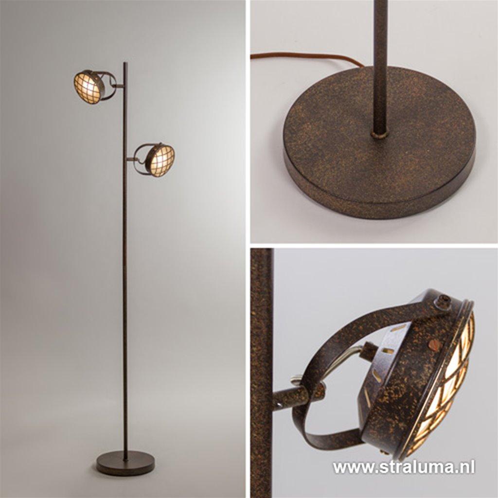 Vloerlamp 2-lichts roestbruin + pushdim.