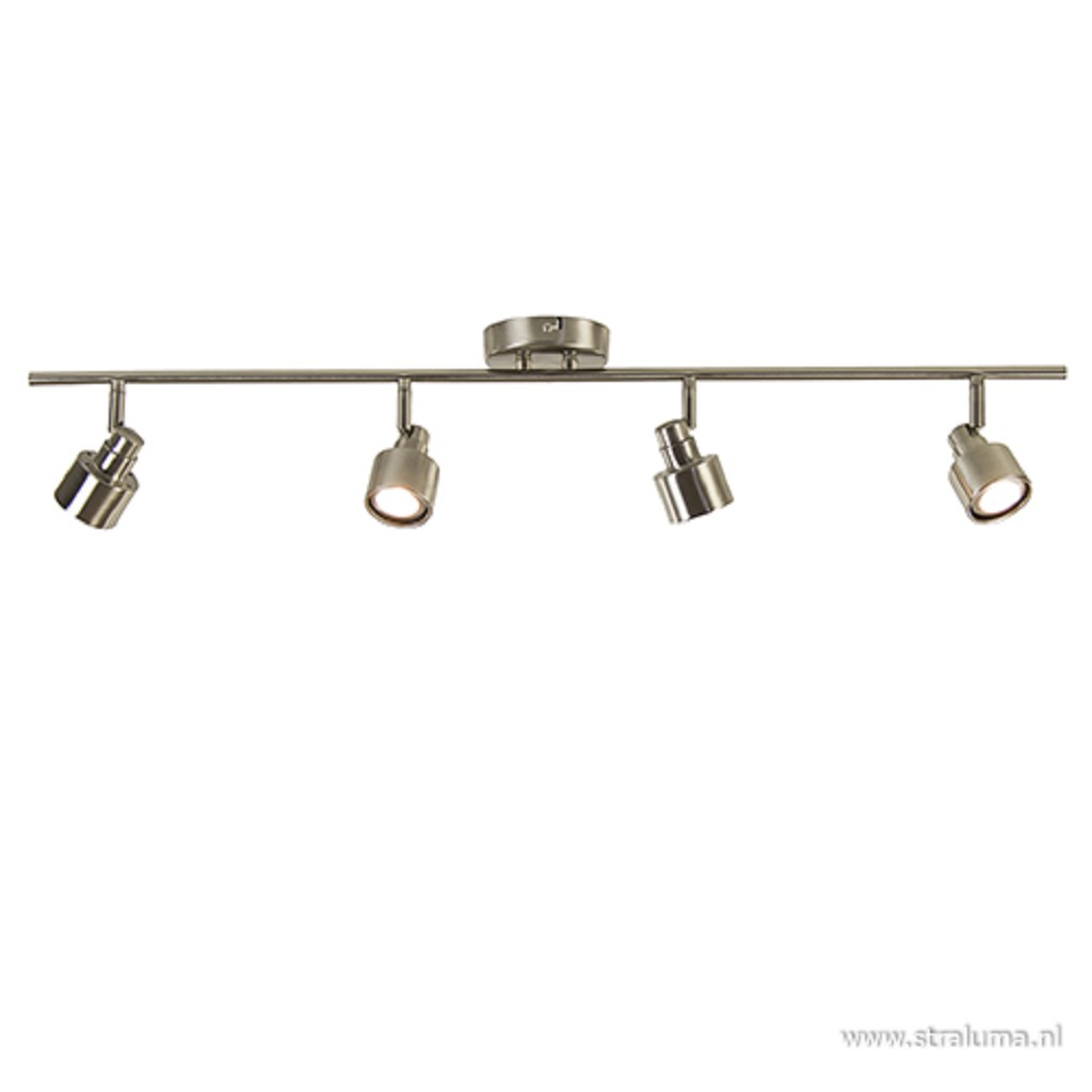 Plafondspot nikkel 4-lichts incl. led