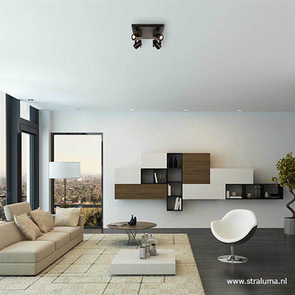 LED plafondspot vierkant mat zwart