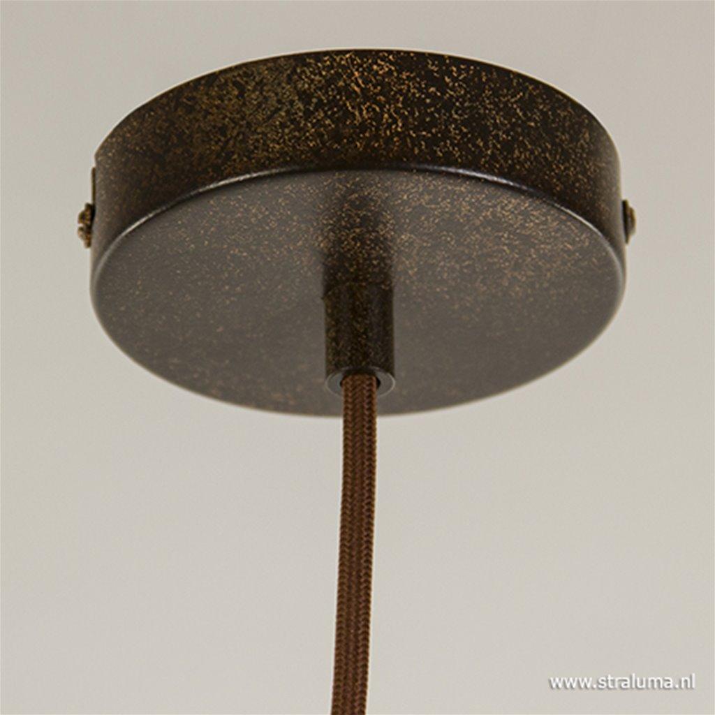 **Landelijke hanglamp roestbruin groot