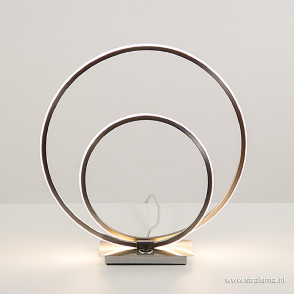 Tafellamp ringen nikkel 3-st. dimmer