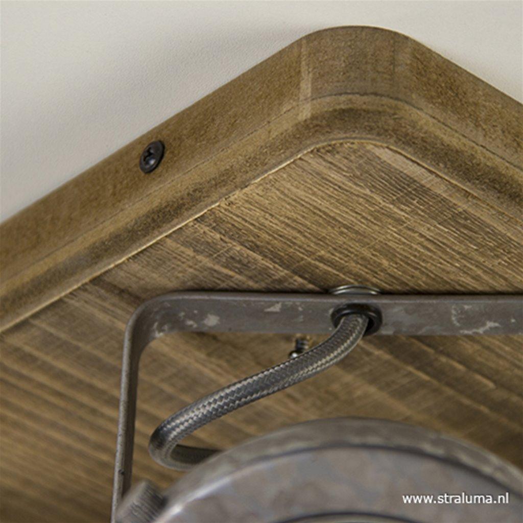 Vierkante stalen spot met hout 4-lichts