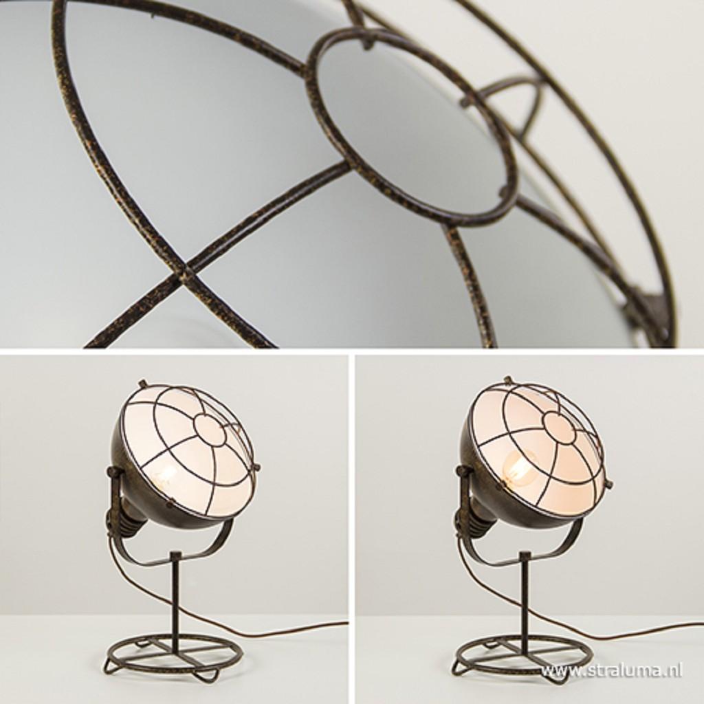 Roestbruine tafellamp industrie met ko