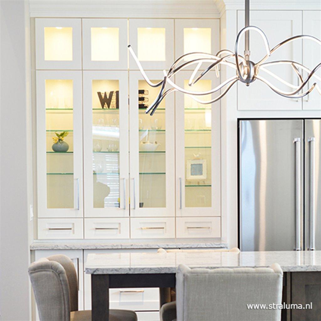 *Design eettafel hanglamp LED staal
