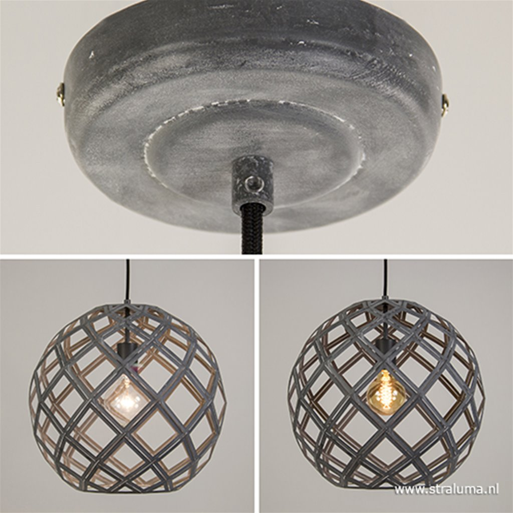Ronde metalen hanglamp betonlook