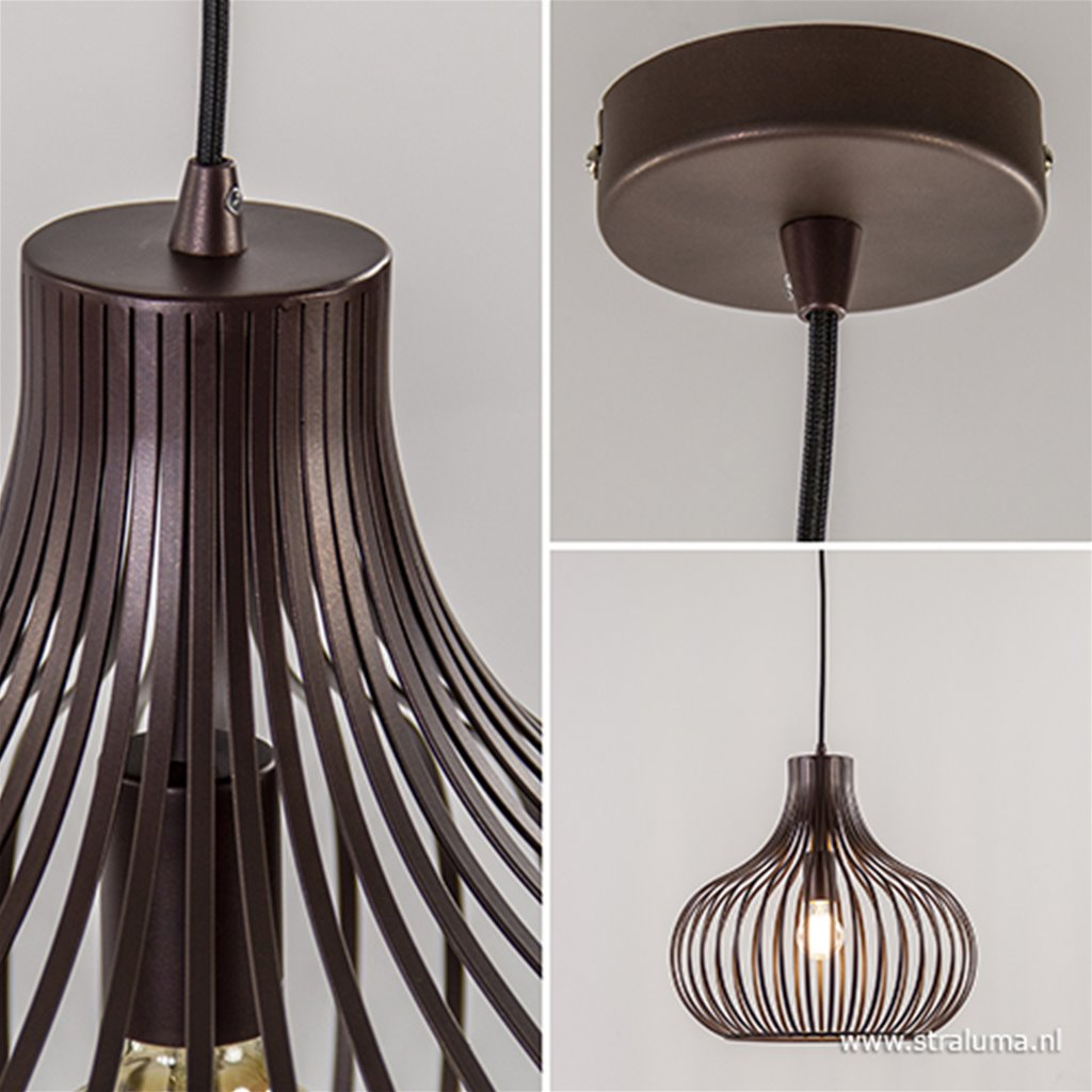 Draadhanglamp landelijk brons-bruin 38cm