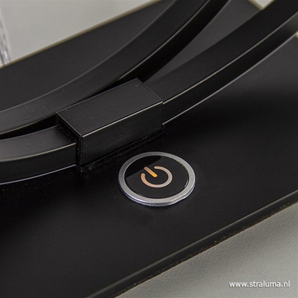 Zwarte LED tafellamp met touchdimmer