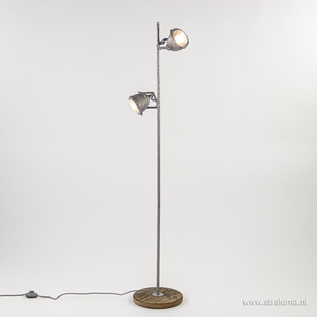 Stoere vloerlamp industrie staal-hout