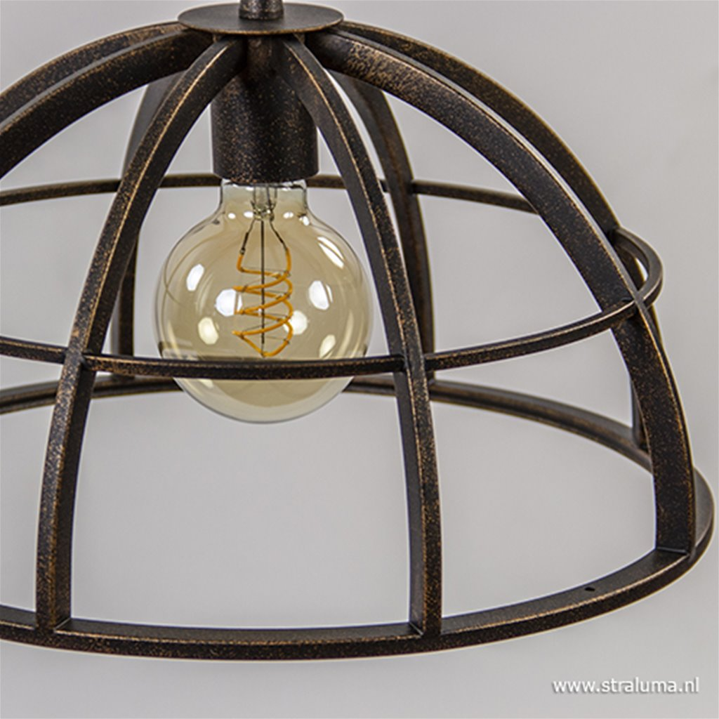 Landelijke eettafelhanglamp bruin-goud