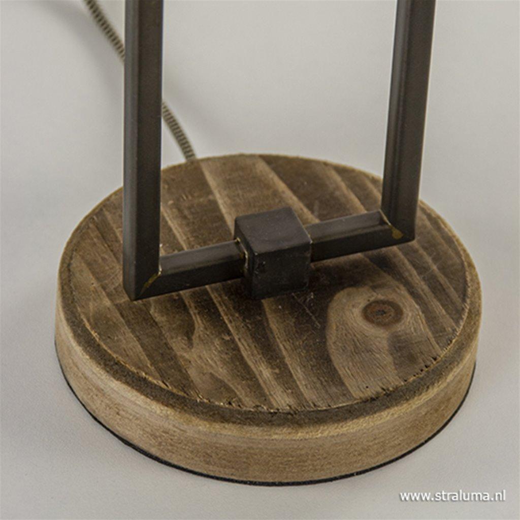 Landelijke tafellamp staal/hout incl kap