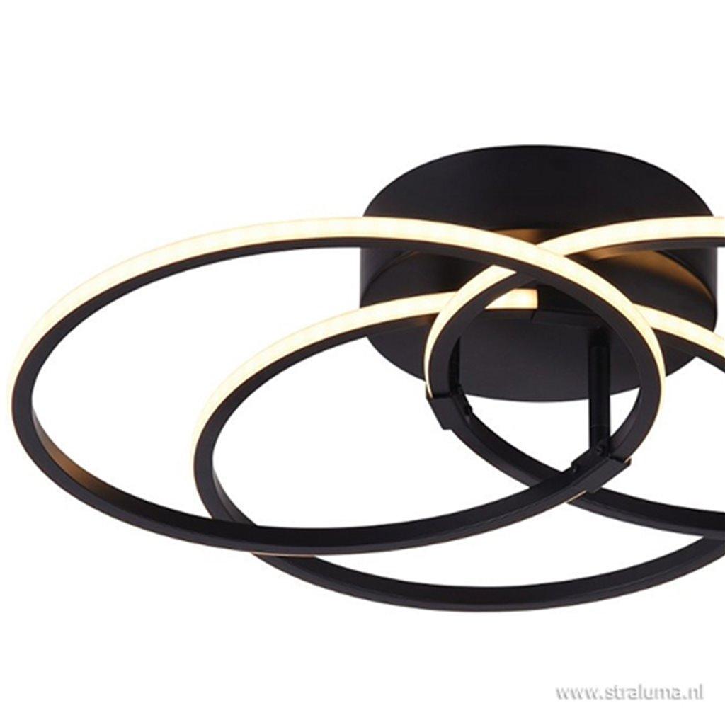 Plafondlamp 3xring zwart 3-standen dim.