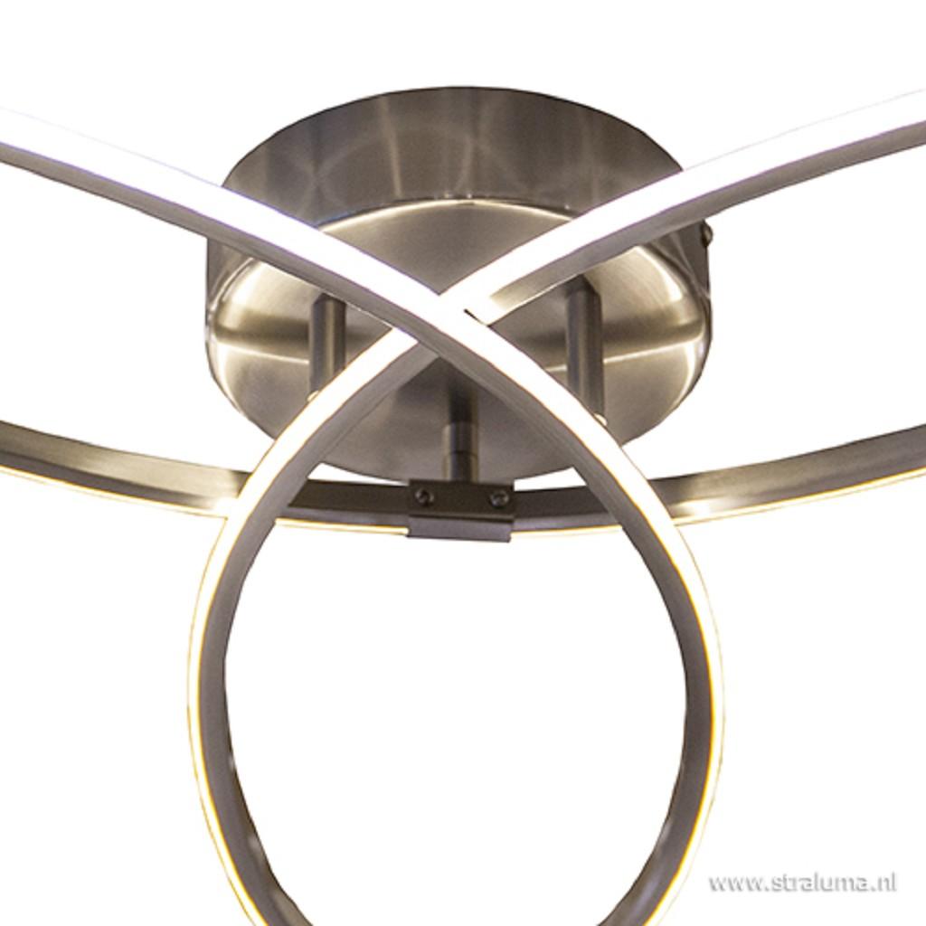 Moderne plafonnière nikkel met LED
