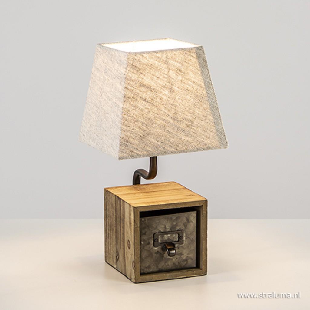 Landelijke tafellamp hout met crème kap