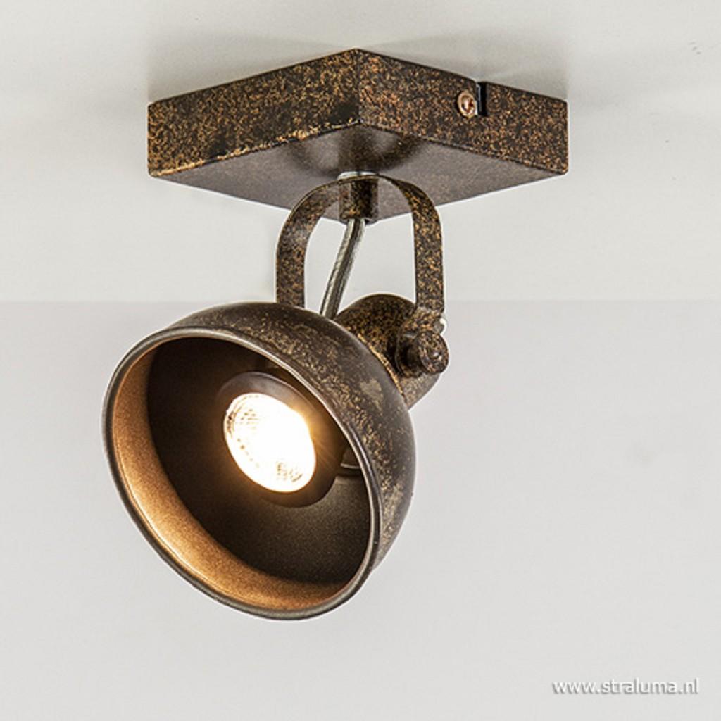 Metalen plafondspot roestbruin incl. LED