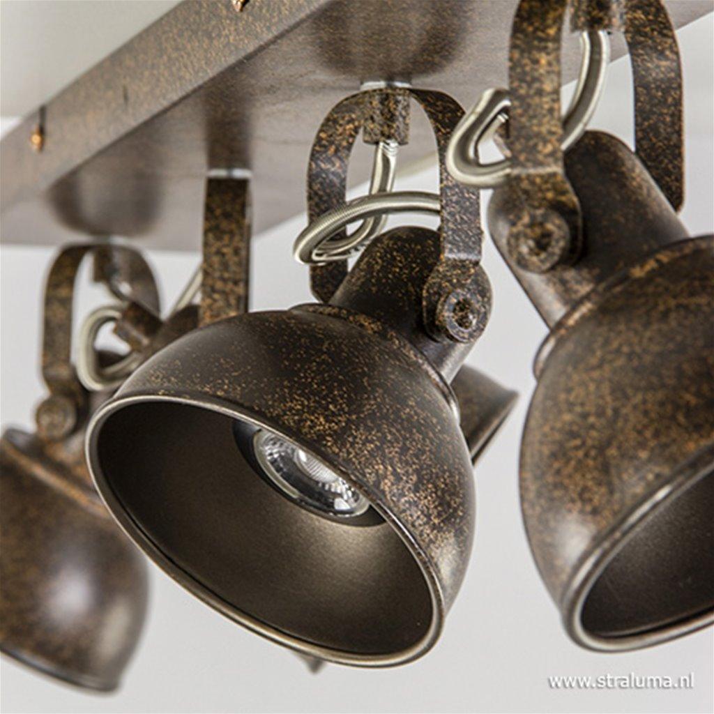 Roestbruine 4-Lichts plafondspot LED