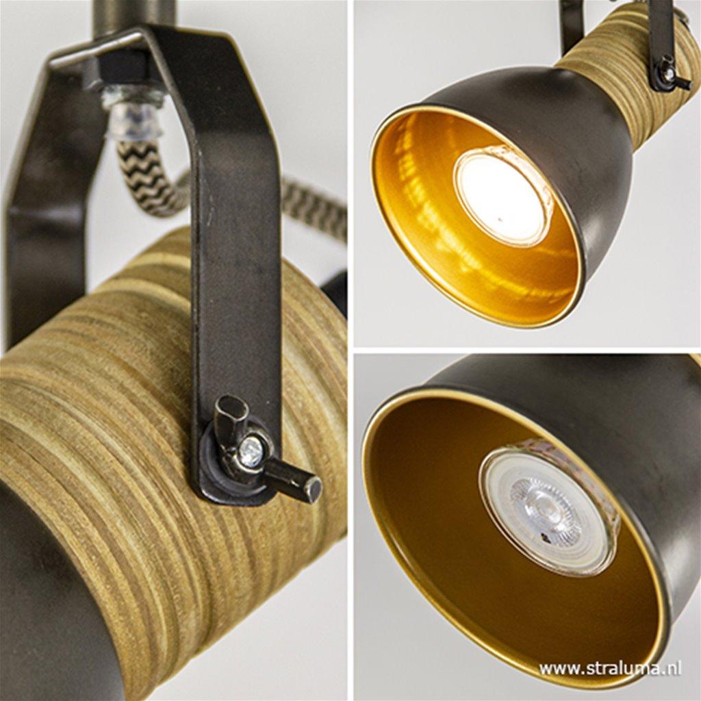 Spot landelijk zwart staal/goud met hout