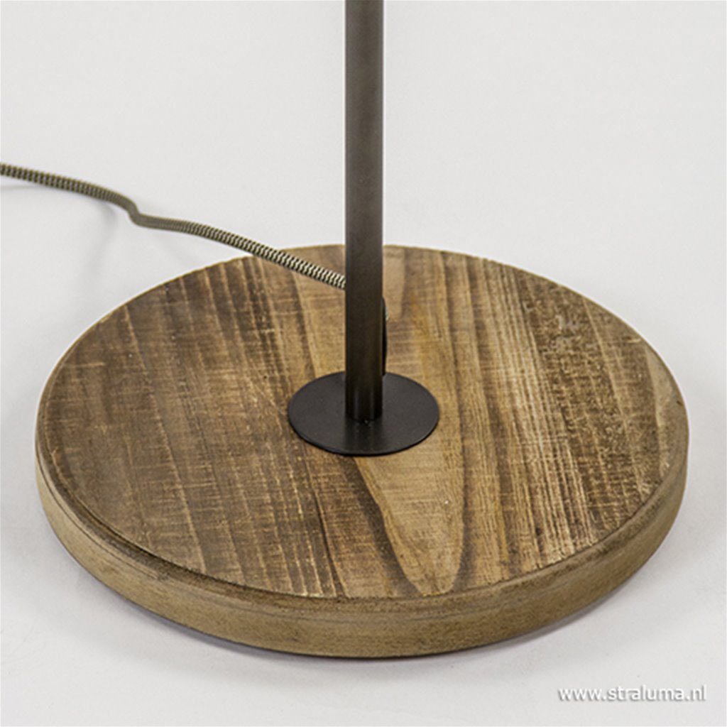 Vloerlamp 2xspot antiek staal/hout gu10