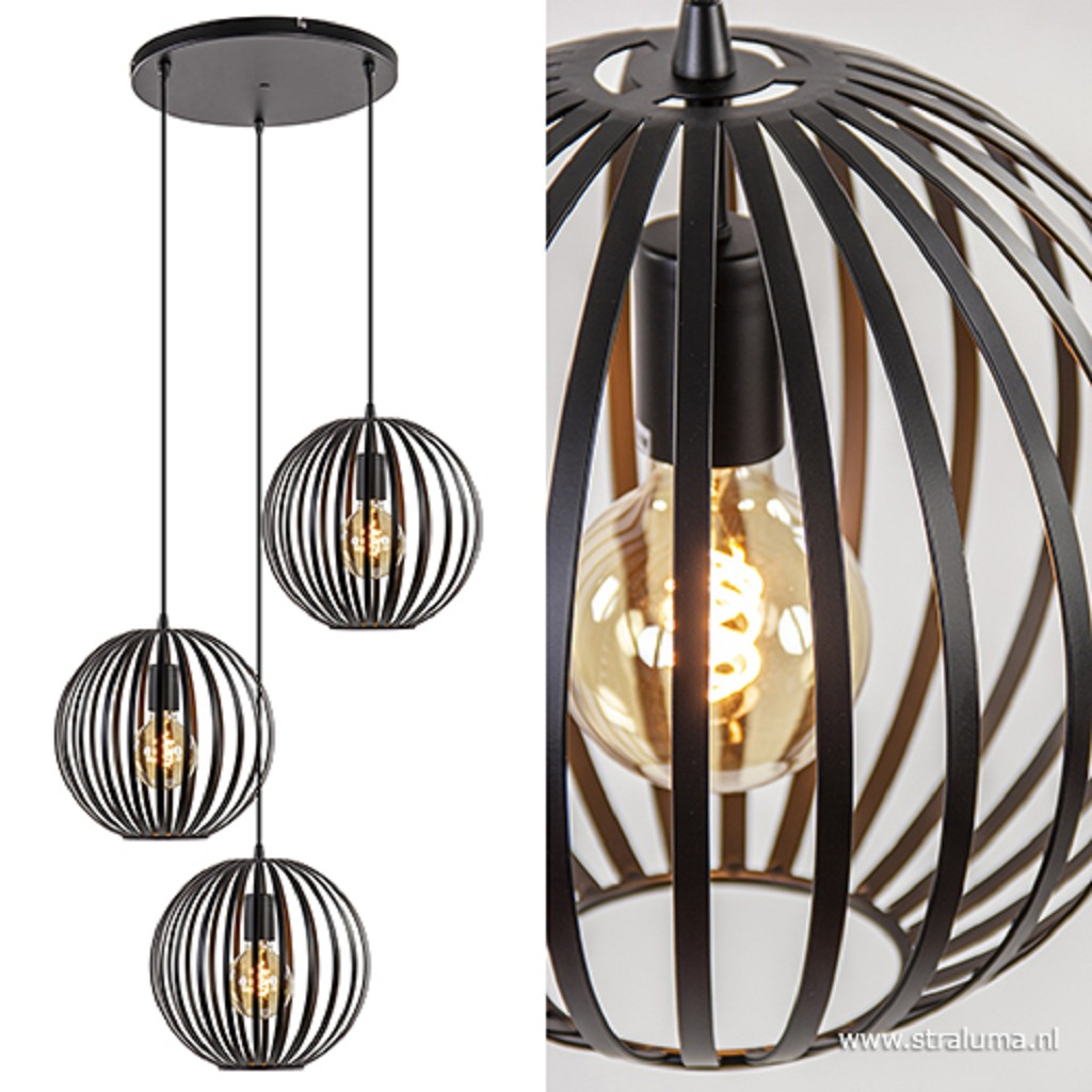 Moderne 3-lichts hanglamp zwarte bol