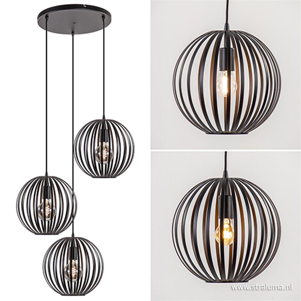 3-lichts hanglamp zwarte bol