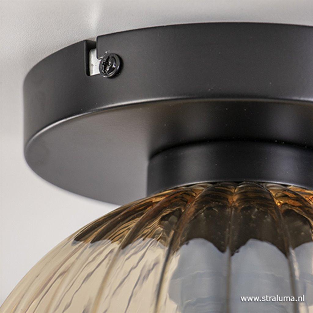 Glazen plafondlamp amber glas met zwart