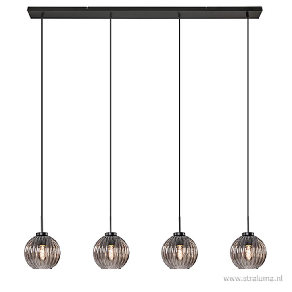 Glazen eettafelhanglamp met smoke glas