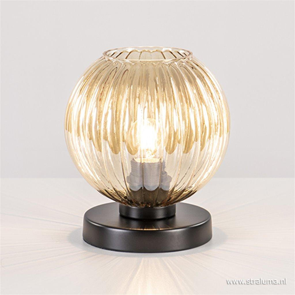 Amber glazen tafellamp met zwarte voet