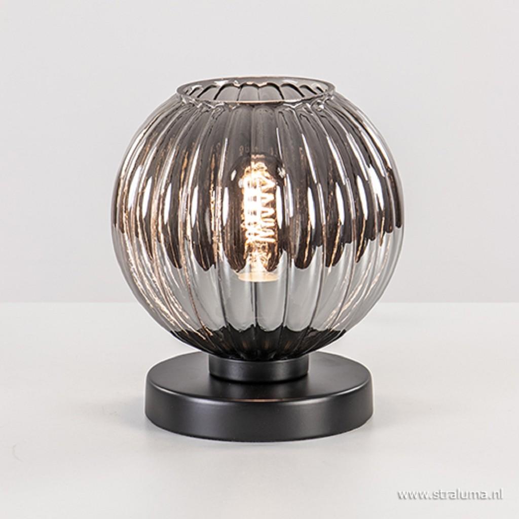 Trendy tafellamp met smoke glas en zwart
